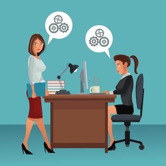 Caratteri di affari nella scena dell'ufficio