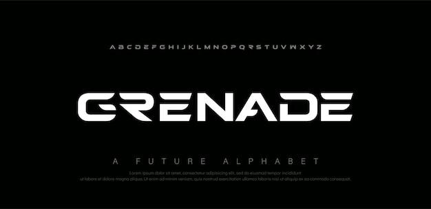 Caratteri di alfabeto moderno digitale sport. tecnologia di tipografia astratta elettronica, sport, musica, carattere creativo futuro.