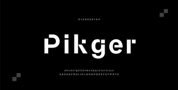 Caratteri di alfabeto moderno minimal astratto. tecnologia tipografica musica elettronica digitale futuro carattere creativo