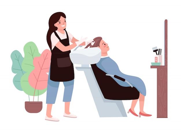 Caratteri di colore piatto di parrucchiere. parrucchiere femminile che lava i capelli del cliente. preparazione cosmetica per la colorazione. parrucchiere professionista. illustrazione del fumetto isolata procedura del salone di bellezza