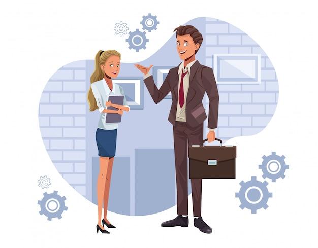 Caratteri di lavoratori giovani coppie di affari