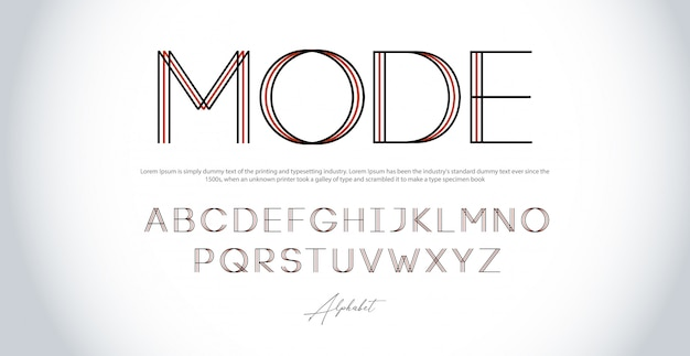 Caratteri di linea sottile alfabeto moderno. carattere urbano tipografico maiuscolo