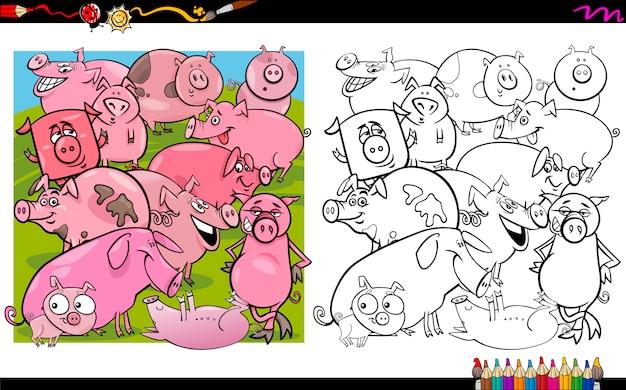 Caratteri di maiale da colorare