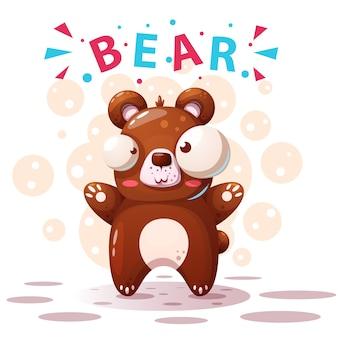 Caratteri di orso carino - illustrazione di cartone animato.