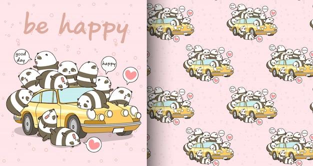 Caratteri di panda kawaii senza soluzione di continuità e modello di auto gialla