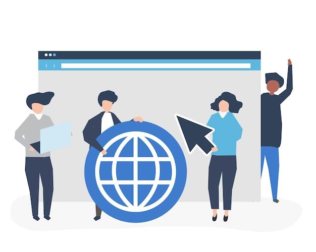 Caratteri di persone in possesso di icone di ricerca su internet