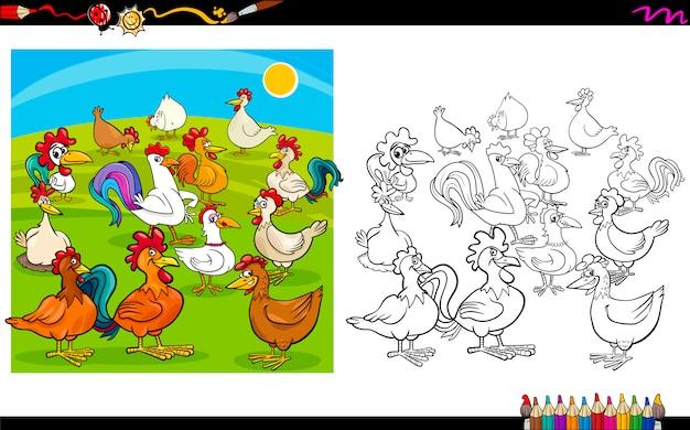 Caratteri di pollo da colorare
