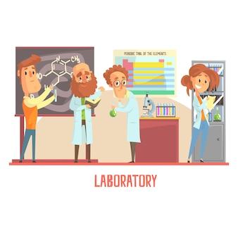 Caratteri di scienziati che conducono ricerche in un laboratorio, interno del laboratorio di scienze