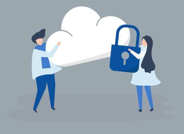 Caratteri di una coppia e un'illustrazione di sicurezza della nuvola