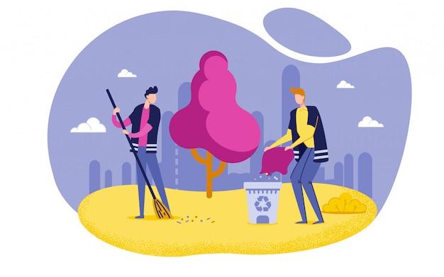 Caratteri di uomini che spazzano, pulendo la spazzatura in parco.