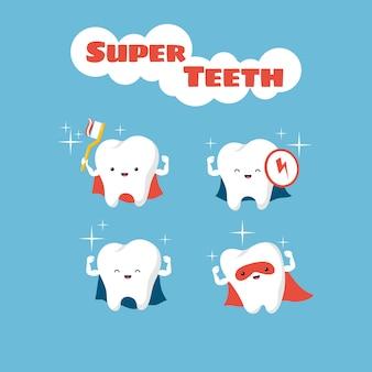 Caratteri di vettore dei denti dei bambini sorridenti del supereroe
