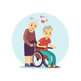 Caratteri di vettore del fumetto degli anziani messi. coppia senior in amore design piatto