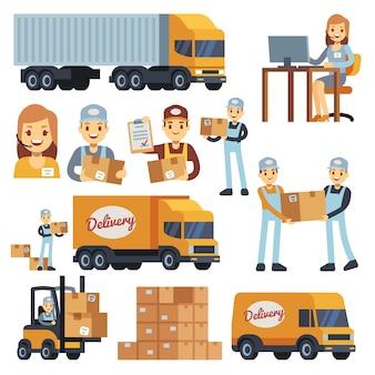 Caratteri di vettore del fumetto degli operai del magazzino - caricatore, fattorino, corriere ed operatore. illustrazione di affari di consegna del magazzino