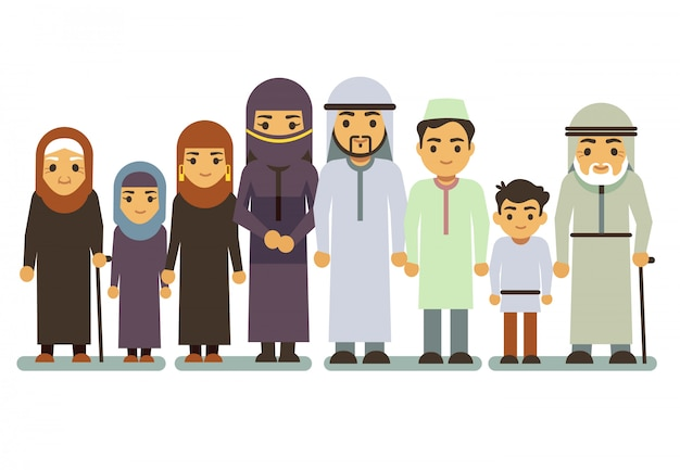 Caratteri di vettore di famiglia sorridente felice arabi