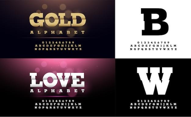 Caratteri e numeri dell'alfabeto elegante in metallo oro e argento