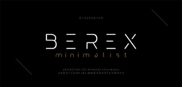 Caratteri e numeri di alfabeto moderni minimi. lettera minuscola urbana tipografia tipografia tipografica minuscola maiuscola.