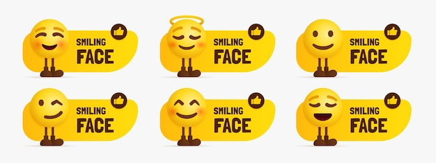 Caratteri emoji carini in piedi con etichetta di testo, set di faccia felice emotiva