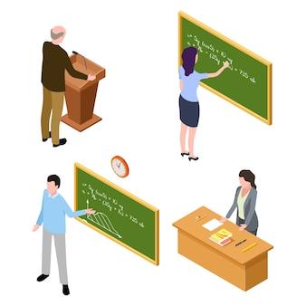 Caratteri insegnante e conferenziere isolati su sfondo bianco