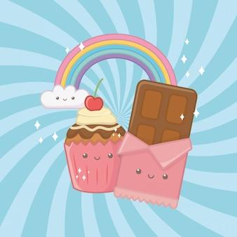 Caratteri kawaii di barrette e caramelle al cioccolato dolce
