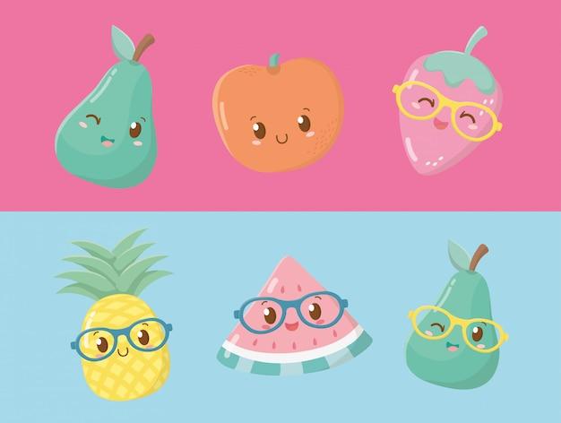 Caratteri kawaii di frutta fresca e tropicale