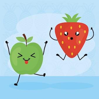 Caratteri kawaii di frutta fresca