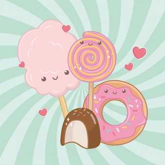 Caratteri kawaii di zucchero e caramelle di cotone dolce