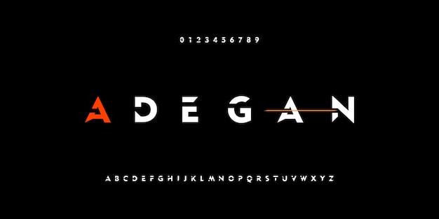 Caratteri moderni di alfabeto di tecnologia digitale forte astratta