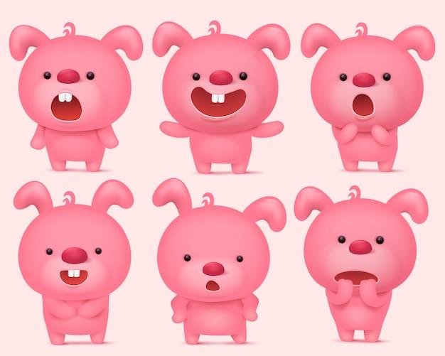 Caratteri rosa emoji coniglietto impostato con diverse emozioni.