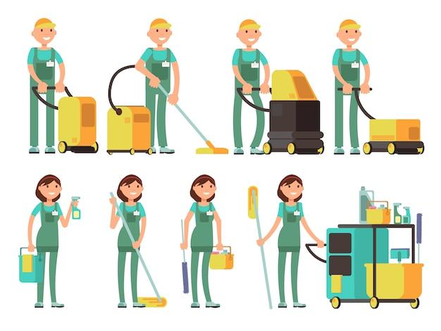 Caratteri vettoriali più puliti con attrezzature per la pulizia. squadra della società di pulizie nel set vettoriale uniforme