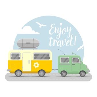 Caravan trailer end car illustration