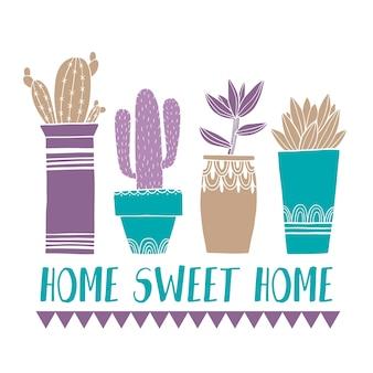 Card cactus pot e succulente in stile schizzo