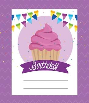 Card con muffin dolci e decorazioni a nastro