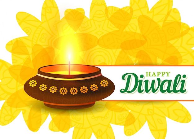 Card design del tradizionale festival indiano diwali con lampada.