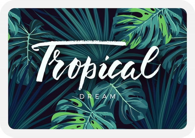 Card design tropicale scuro con piante e scritte nella giungla. sfondo tropicale con foglie di palma e monstera verde.