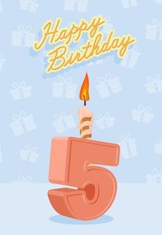 Card di buon compleanno con 5 ° compleanno