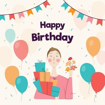 Card di buon compleanno con donna illustrata