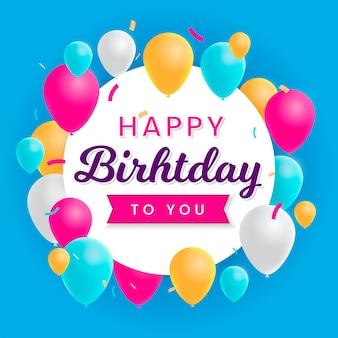 Card di buon compleanno con illustrazioni di palloncini