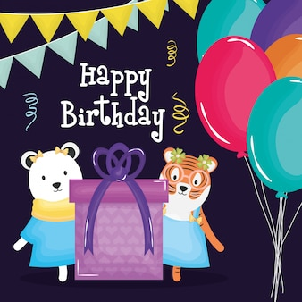 Card di buon compleanno con orso polare e tigre