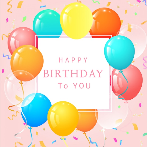 Card di buon compleanno con palloncini e coriandoli