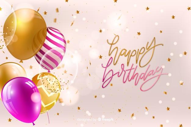 Card di buon compleanno con palloncini