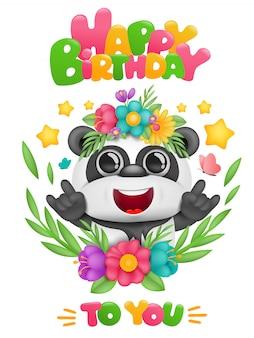 Card di buon compleanno con personaggio dei cartoni animati panda kawaii in cornice floreale