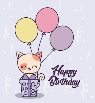 Card di buon compleanno con simpatico gatto
