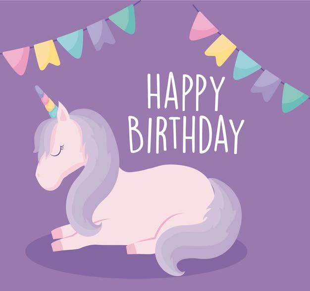 Card di buon compleanno con unicorno carino