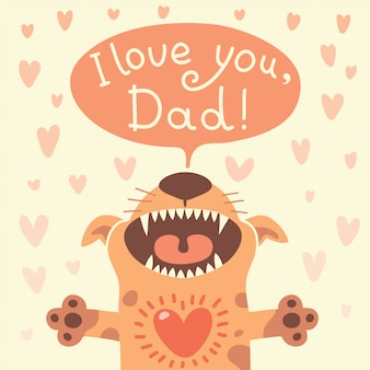 Card happy fathers day con un cucciolo divertente.