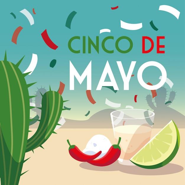 Card holiday cinco de mayo con cibo messicano
