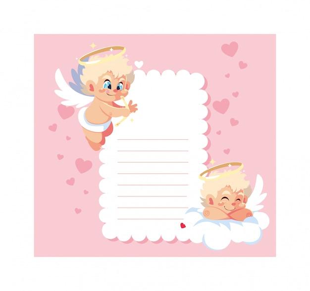 Card san valentino con angeli di cupido, foglio per scrivere