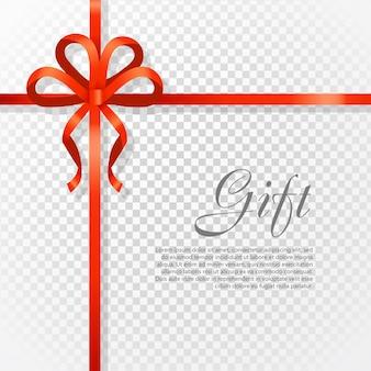 Cardi l'illustrazione di vettore su fondo trasparente, l'ampio arco del regalo di lusso con il nodo rosso o la struttura dello spazio e del nastro per testo, spostamento di regalo