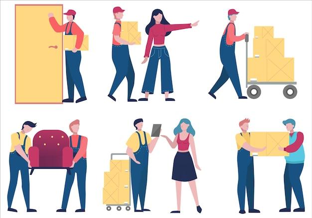 Caricatore in uniforme che trasportano cose insieme. scatola della holding dell'uomo di consegna. concetto di servizio di trasporto. illustrazione