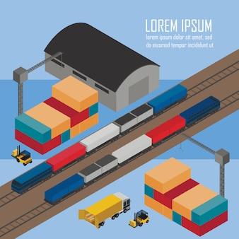 Carichi i treni all'illustrazione isometrica della stazione
