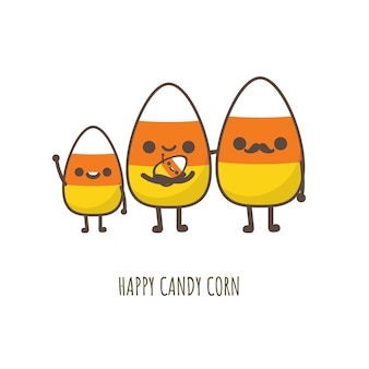 Carina famiglia di mais caramelle di halloween.